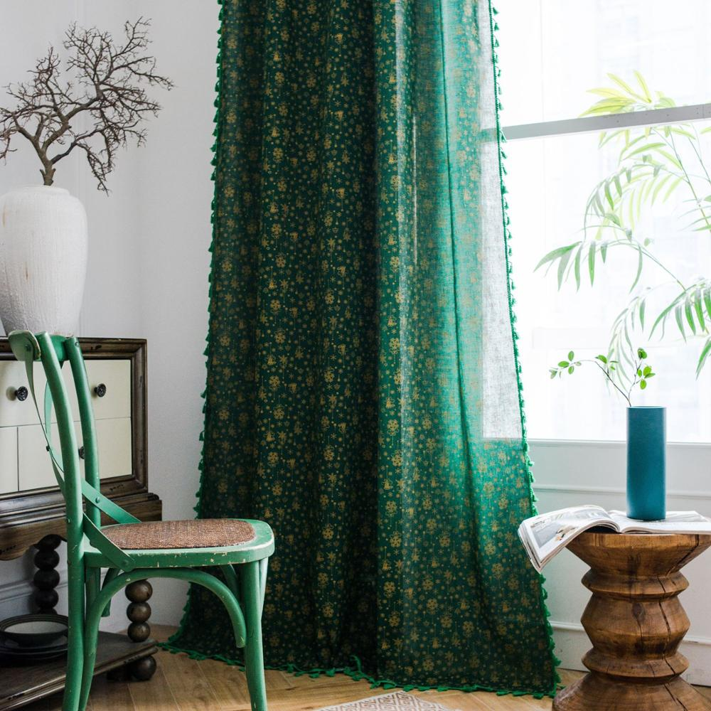 Christmas Green Curtain For Living Room Blinds Bedroom Bay Window Cotton linen bronzing Finished curtain Buckle/Tube curtain