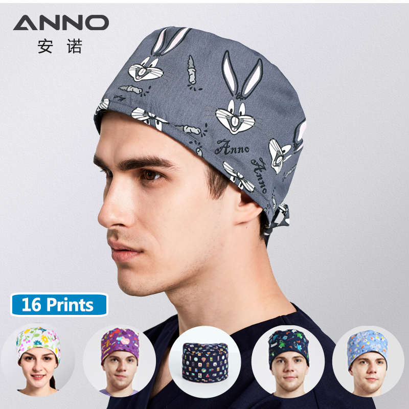 ANNO Brand Cotton Medical Scrubs Caps Dental Women Man Pet Surgical Caps Cartoon Hospital Hat Nurse Hats Medical Accessories