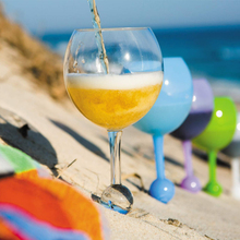 Beach Glass Floating Glass Acrylic Shatterproof Wine Beer Cocktail Drinking Glasses for Pool Beach Outdoor