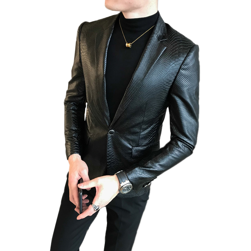 Autumn New Black Men's Leather Blazer Coat, Fashion Slim Men Jacket Size S-4XL Youth Nightclub KTV Coats Male