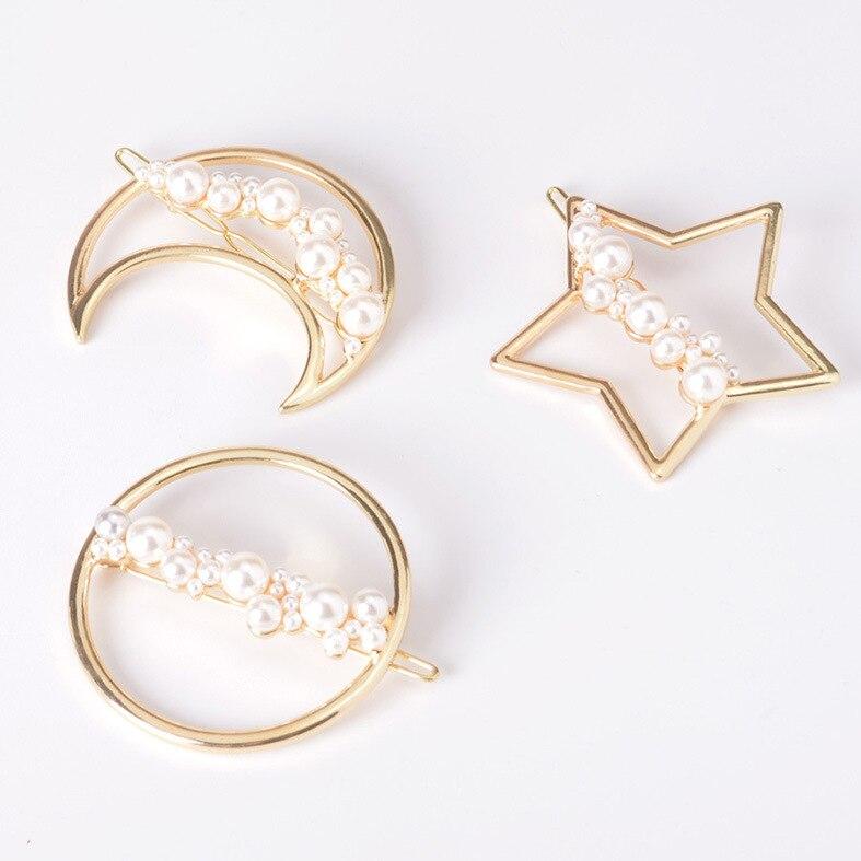 Модная жемчужная заколка для волос, звезда, треугольник, круглая форма, женские Кристаллы Стразы, жемчужные Заколки, аксессуары для укладки ...