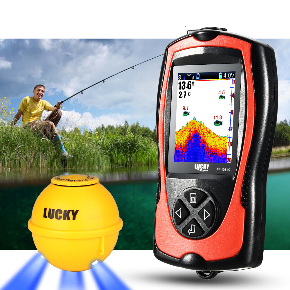 LUCKY 45M Depth Detector Echo Sounder Portable Sonar Fish Finders Attractive Lamp Fishing Finder Colorful Screen