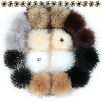 10 12 15cm False Hairball Hat Ball Pom DIY Wholesale Cap Accessories Multicolor Faux Fox Fur PomPom With Buckle