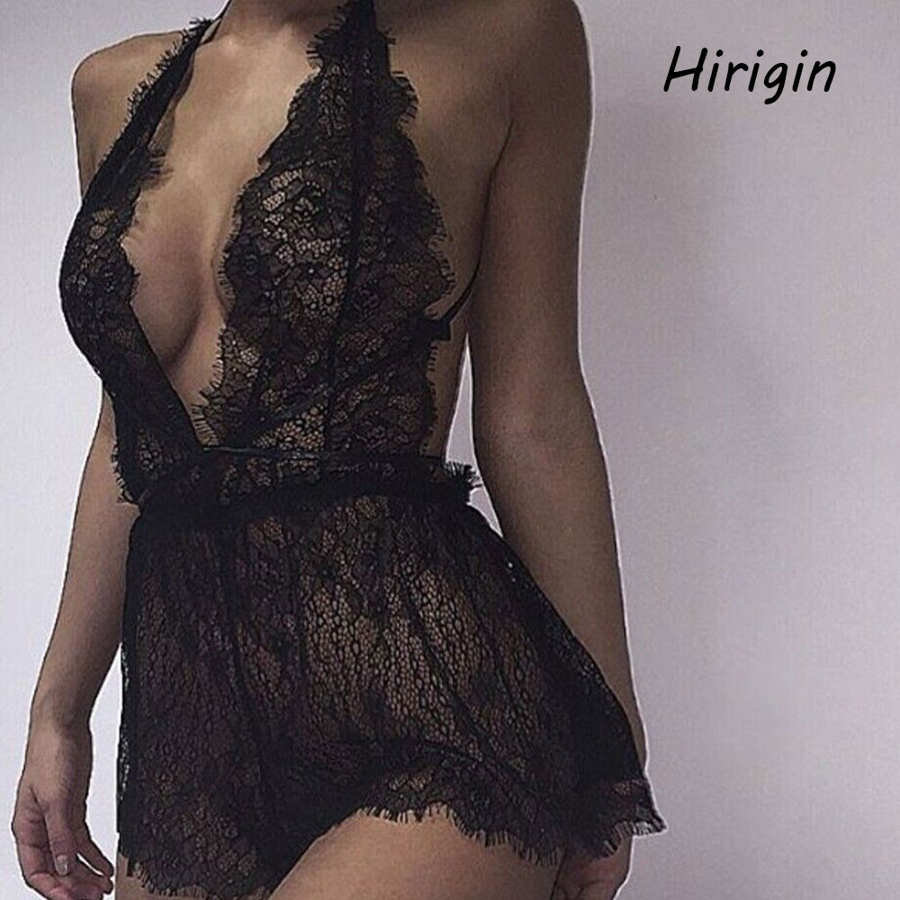 Plus Size Sexy Lingerie For Women Erotic Perspective Lace Babydoll Jumpsuits Set Flirting G-String Underwear Nightwear Sex Shop