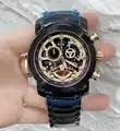 Reloj cronógrafo de lujo a estrenar para hombre zafiro oro rosa Acero inoxidable negro esqueleto con luz reloj limitado deporte AAA +