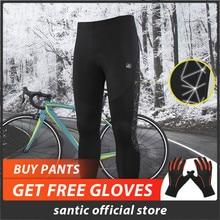 Santic мужские велосипедные MTB брюки зимние 4D Подушка Светоотражающие штаны сохраняющие тепло велосипедные брюки Полная зимняя азиатская M-4XL K7MB018H
