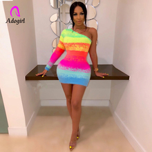 Rainbow Color Print Women Autumn Bodycon Mini Dress One Shoulder Long Sleeve Outfits Sexy Party Club Night Dress Skinny Vestidos long sleeve ruffle skinny one shoulder bodysuit