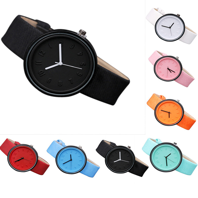 Women Girl Watches Luxury Simple Style Number Watches Quartz Canvas Belt Wrist Watch Relogio Feminino For Gift Student Clock #c