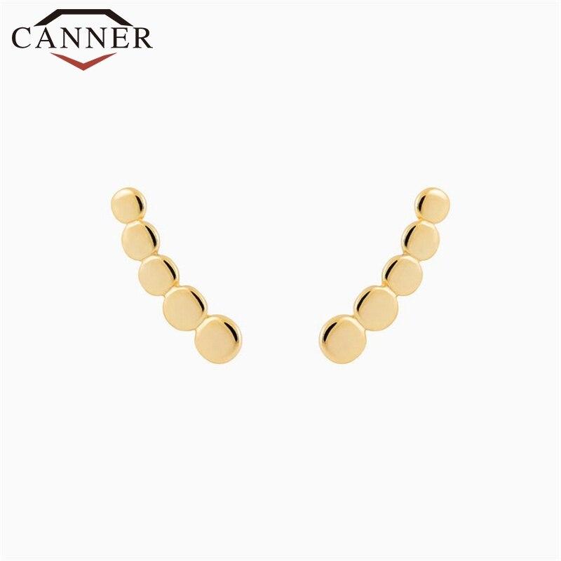 Simple Personality Geometric Zircon 925 Sterling Silver Stud Earrings for Women Minimalist Cute Studs Earings Fashion Jewelry