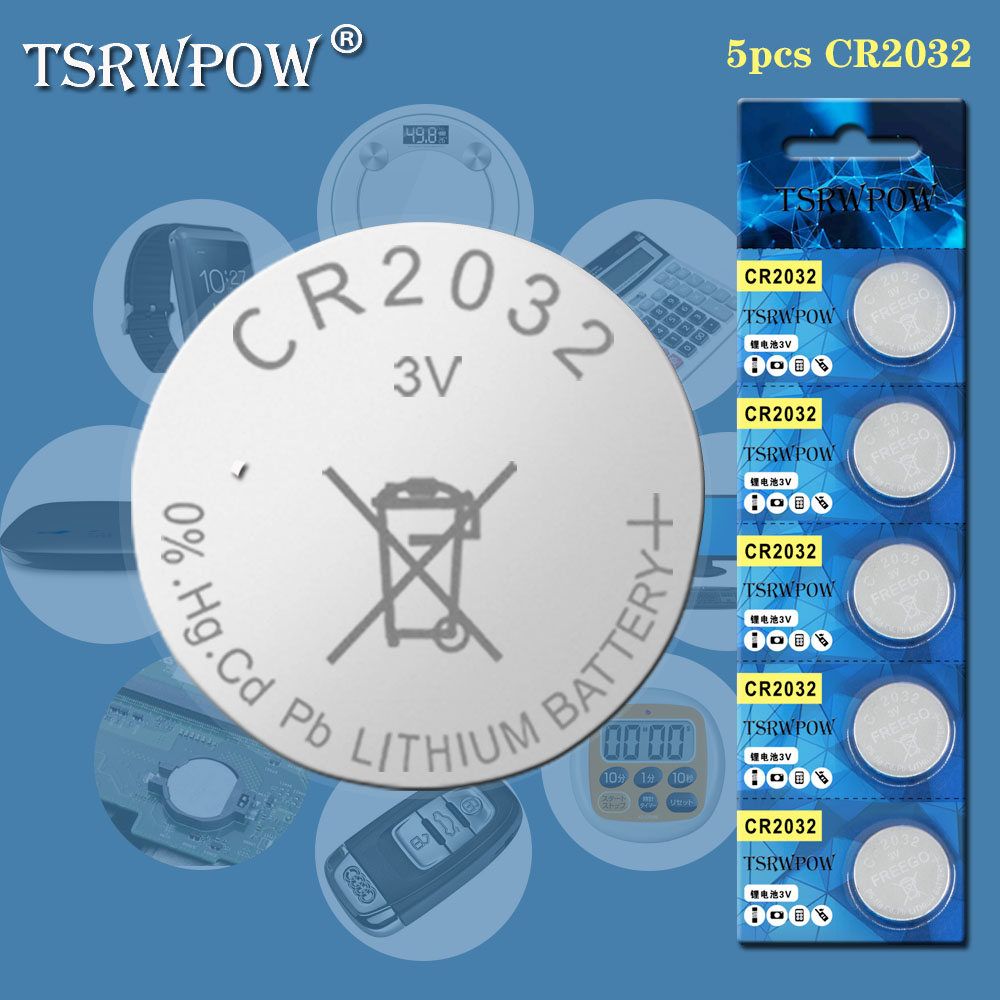 TSRWPOW Cr2032 3v Button Cell Coin Batteries For Watch Computer Lithium Battery Cr2032 For Control Calculator Electronic Remote