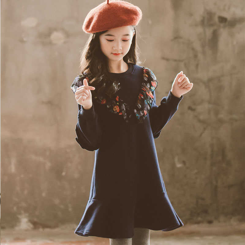 Fleece Kinder Teenager Mädchen Langarm Herbst Winter Kleid Kind Mädchen Mode Baumwolle Kleider Weihnachten Patchwork Kinder Kleidung