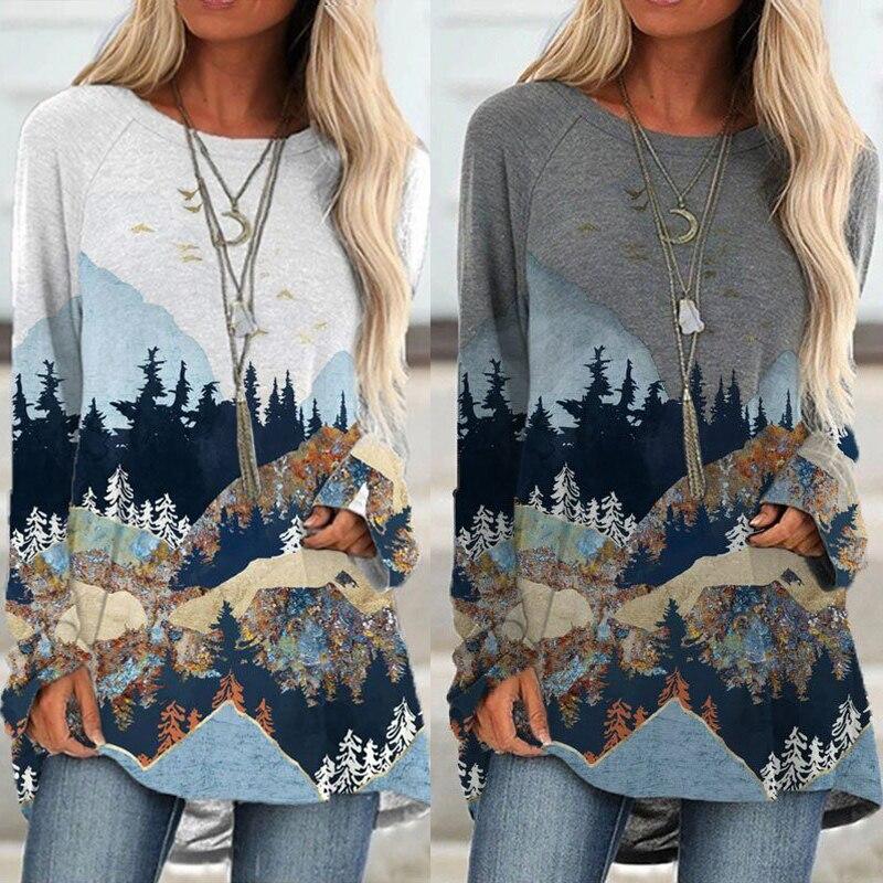 Women's Mountain Treetop Print Long Sleeve T shirt Women Fashion SWEATShirts &...