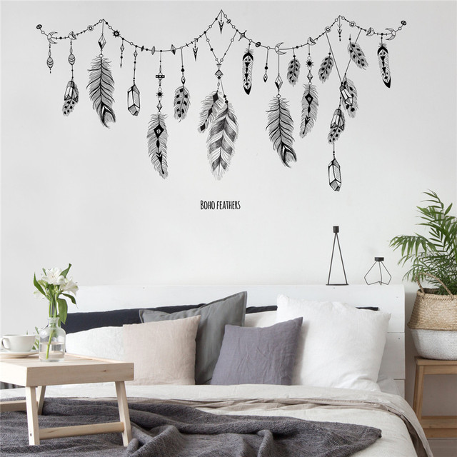 Black Boho Feathers Wall Stickers For Bedroom Living Room Bathroom Bar Kitchen Wall Decor Removable Art Decals Mural Diy Muraux Wall Stickers Aliexpress