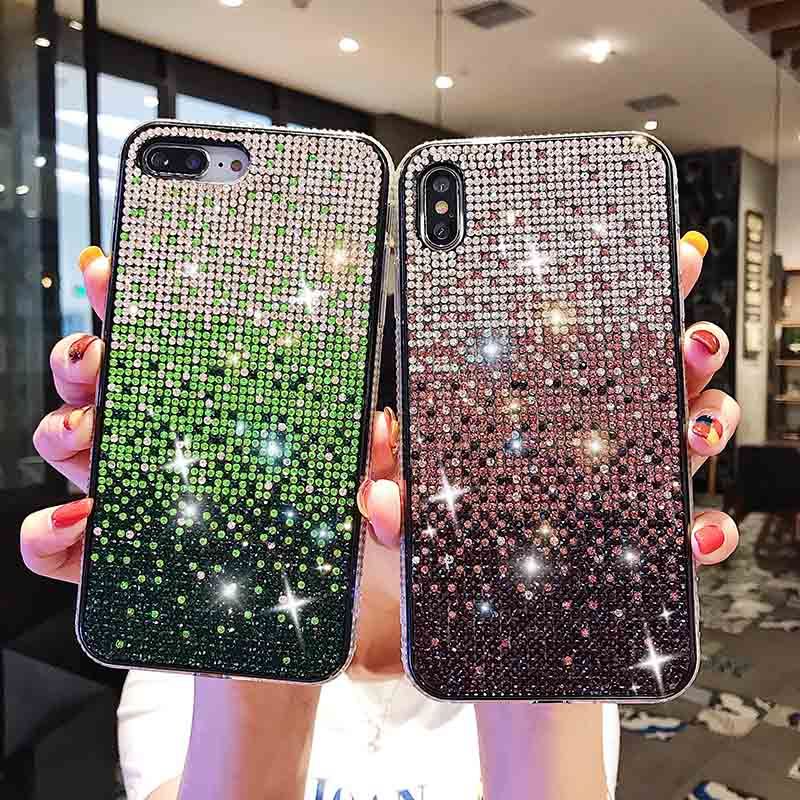 3D Diamond Bling Crystal Case For IPhone X XS Max XR Case Soft TPU Glitter Cover For IPhone 6 6S 7 8 Plus Rhinestone Phone Shell