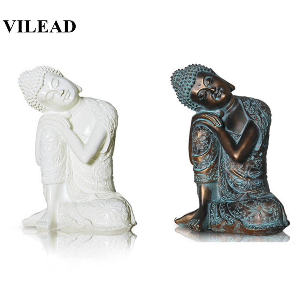 VILEAD 23cm Resin Zen White Sleeping Buddha Statue Crafts Chinese Style Old Living Room Decor Creative Character Decoration Gift
