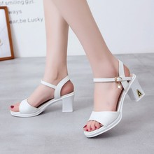 Summer Fish-Snout Fashion Chunky With A Buckle Belt In The Heel Water Drilling High Sandals