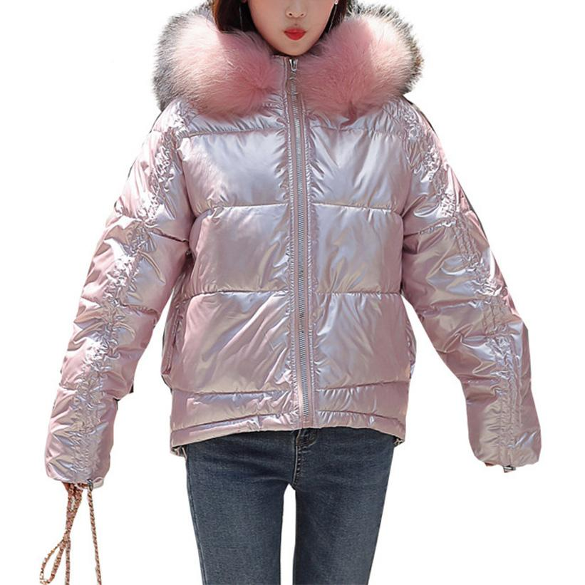 Winter Women Solid Color Cotton Padded Coat Faux Fur Collar Short Down Jacket