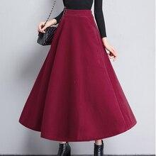 2019 Women Slit Long Maxi Skirt elegant Autumn Winter A-line wool Solid Color Skirts High Waist Warm Woolen