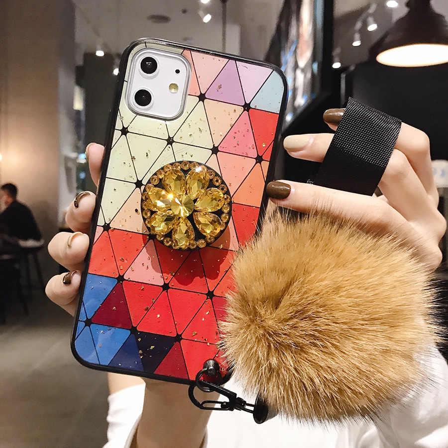 Per Samsung S11Plus Not10Plus TPU Coque Per il iPhone 11 Pro MAX 6 6sPlus 8 Più di 7 Più FAI DA TE di cristallo titolare Palla di Pelo Cinghia di cassa Del Telefono