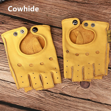 Gours冬リアルレザー指なし手袋男性ブラックハーフフィンガージムワークアウトフィット駆動本物の牛革手袋GSM046