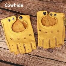 قفازات من الجلد الطبيعي للشتاء من gors بدون أصابع للرجال لون أسود نصف أصبع لتمارين اللياقة البدنية وقيادة قفازات من جلد البقر الأصلي GSM046