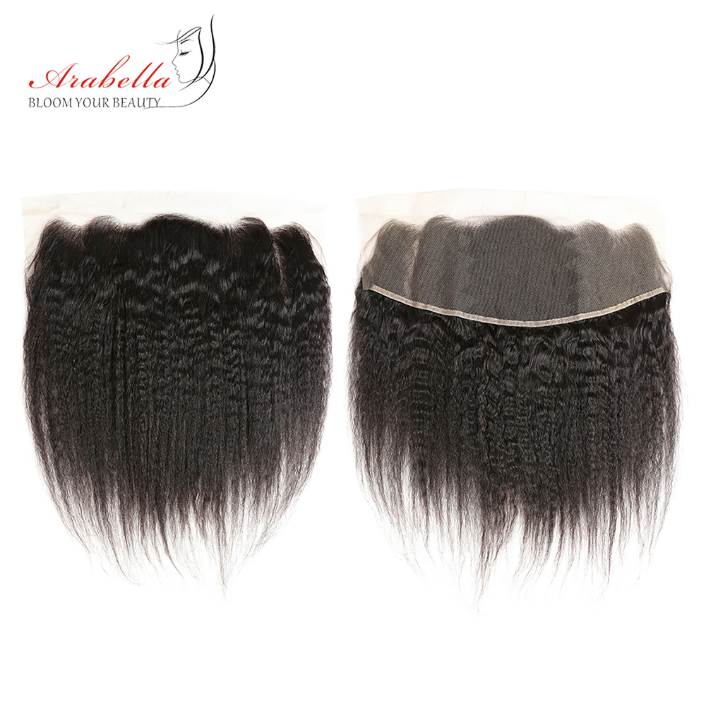 Brazilian Yaki Straight 13x4 Lace Frontal Ear To Ear 150% Density 1Pc Natural Color Remy Hair Lace Frontal Closure Arabella