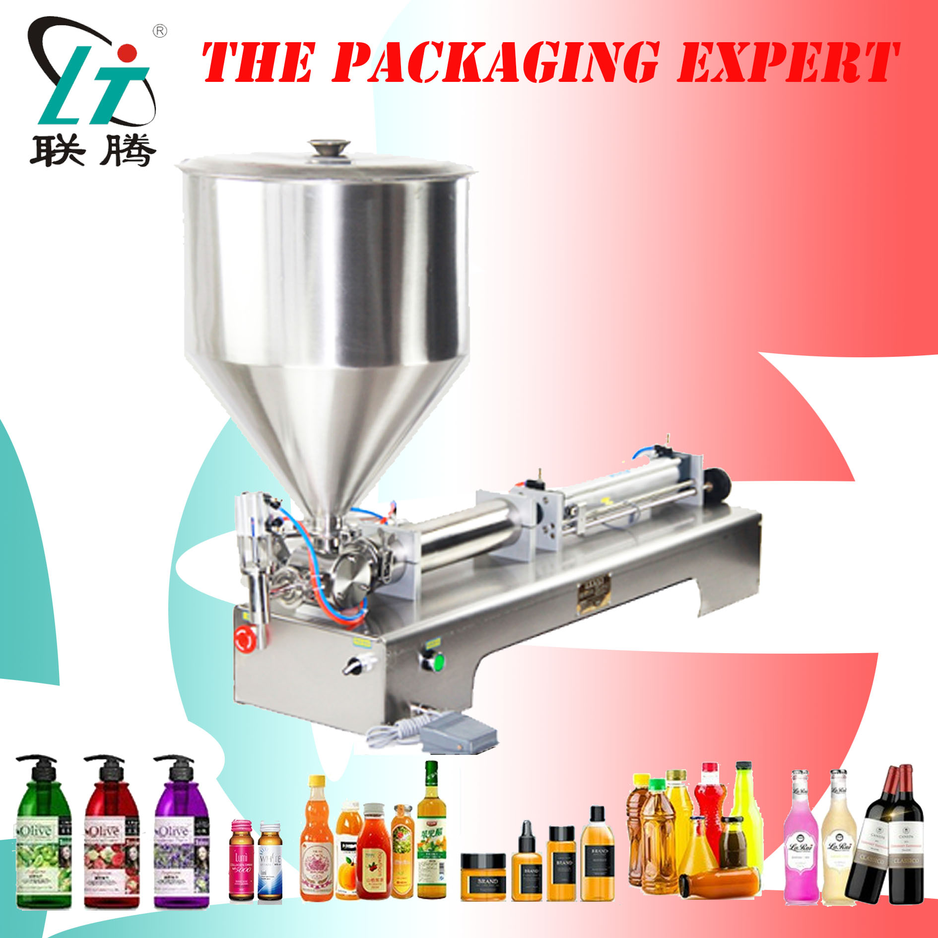 Filling Machine Paste Filler Shampoo Lotion Cream Yoghourt Honey Juice Sauce Jam Gel Sauce Food Pneumatic Piston Free Shipping
