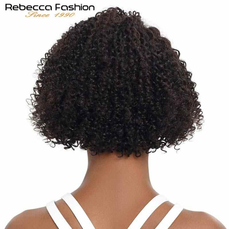 Rebecca częściowo koronka przodu peruka z krótkim bobem Afro perwersyjne kręcone ludzkie włosy peruki wstępnie oskubane bielone węzłów Remy brazylijski ludzki koronkowa peruka