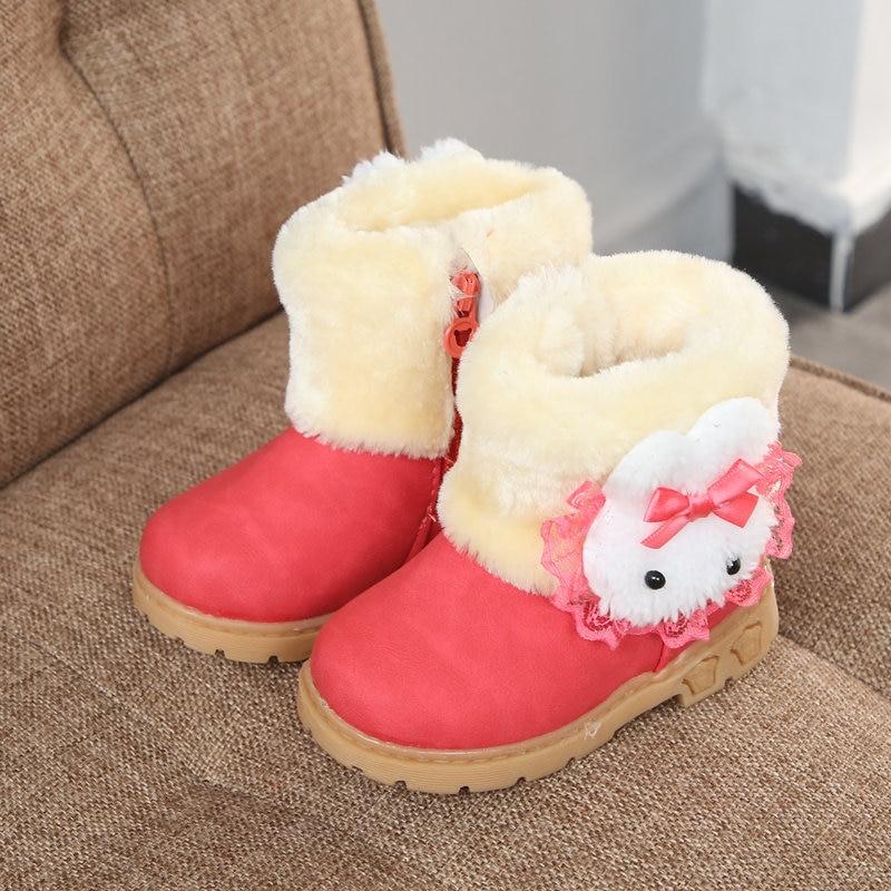 Inverno de pelúcia meninas botas de neve 2019 novas crianças quentes botas de neve de couro do plutônio plana do bebê da criança cabeça de coelho princesa crianças sapatos
