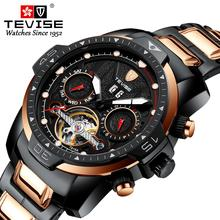 TEVISE High Quality Mens Watches Men Stainless Steel Automatic Mechanical Wristwatch Skeleton Tourbillon Clock Relogio Masculino