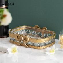 Nordic Light Luxury Glass Brass Soap Dish Underwear Soap Container Jewelry Watch Storage Rack Hotel Home Bathroom Decoration