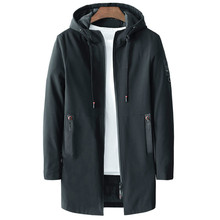 Autumn Winter Mens Casual Long Jackets Solid Trench Coats Men Hooded Elastic Windbreaker Pocket For