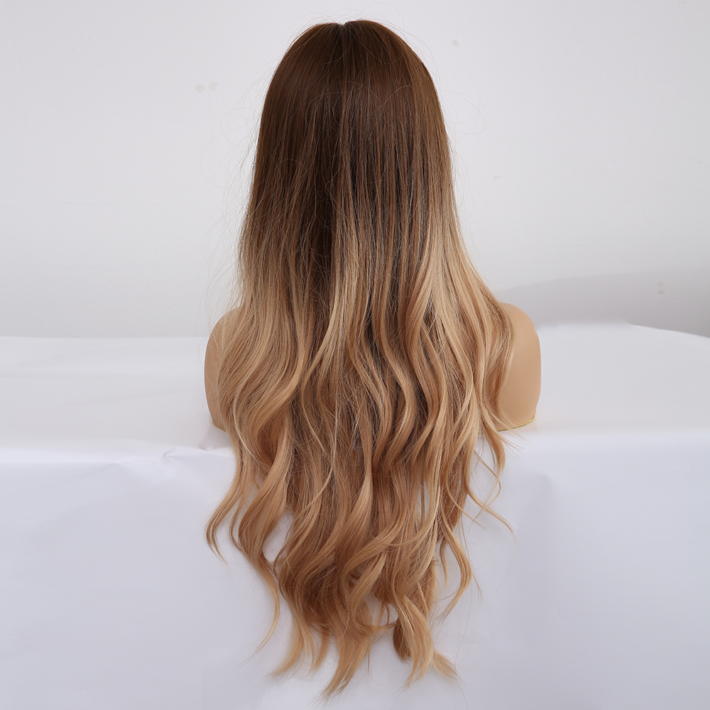 ALAN EATON Ombre Wavy Wigs Black Brown Blonde Middle Part Cosplay Synthetic Wigs with Bangs For Women Long Hair Wigs Fake Hair 4