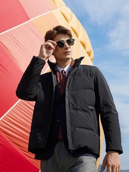 2021nowe lekkie ciepłe męskie zimowe puchówki grube wiatroszczelne płaszcze jednokolorowe odzież wierzchnia odzież męska odzież męska tanie i dobre opinie CN (pochodzenie) REGULAR DJ007 Anglia styl zipper Pełna Biały puch gęsi Poliester 150g-200g