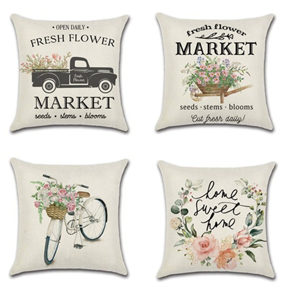 1pcs Flower Bicycle Truck Spring Farm Theme  45*45cm Cushion Cover Linen Throw Pillow Car Home Decoration Decorative Pillowcase