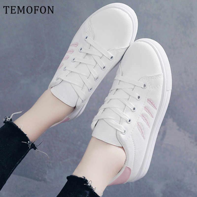 TEMOFONรองเท้าผ้าใบสีขาว 2020 Vulcanizeรองเท้าPUหนังรองเท้าสตรีรองเท้าผ้าใบผู้หญิงรองเท้าตะกร้าFemme HVT1235