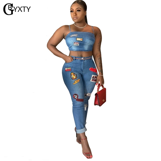 GBYXTY Cartoon Denim Sets Women Two Piece Set Spaghetti Strap Crop Top and Jeans Pants 2 Piece Set Club Outifts Tracksuit ZL403