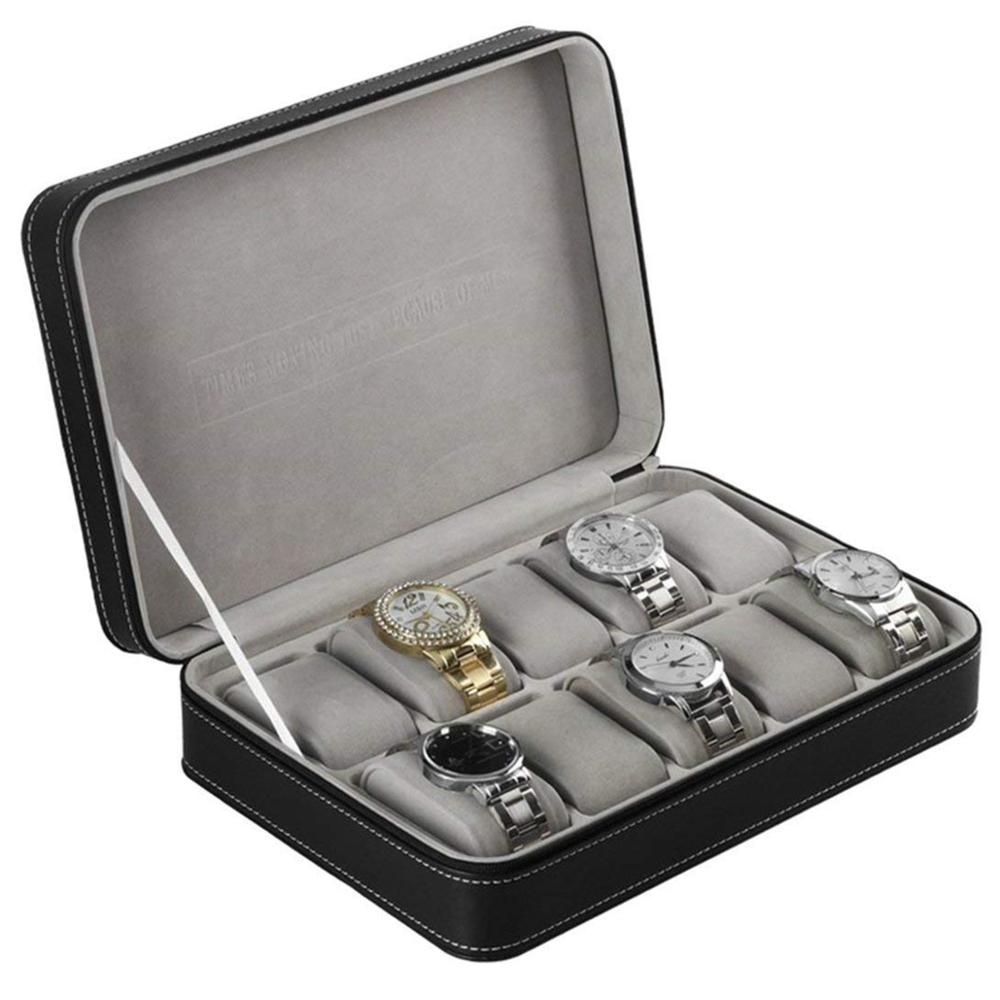 Caixa de Exibição Prático Grade Couro Falso Relógio Case Preto 12