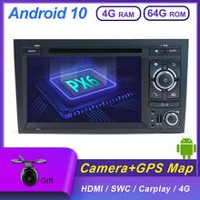 PX6 DSP Car Stereo receiver Android 10 For audi a4 b6 Wifi BT AUX DVD GPS Navigation Carplay 4GB+64GB HDMI DAB CAMERA
