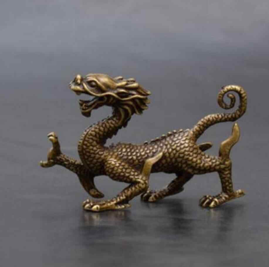 Koperen Standbeeld China Messing Archaize Carving Dragon Kleine Standbeeld