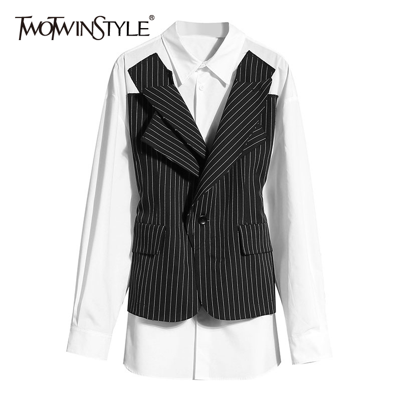 TWOTWINSTYLE Vintage Patchwork Women Blazers Lapel Collar Long Sleeve Tunic Hit Color Striped Suits For Female Fashion 2020 Tide