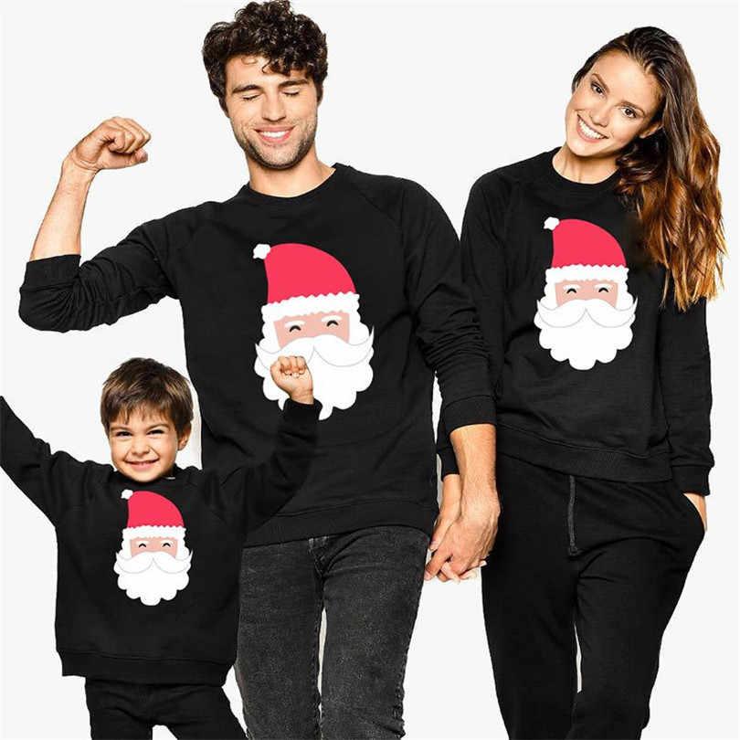 חג המולד מראה משפחת אמא בת אב בן סווטשירט תלבושות משפחה התאמת בגדי סנטה קלאוס אמא ואותי בגדים