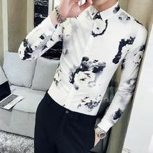 Casual Shirt Spring Long-Sleeve Korean-Printing Tide Masculina Camisas Self-Cultivation