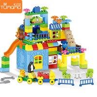 גדול גודל אבני בניין 160pcs שעשועים פרק דגם בניין צעצועי גדול גודל קיד חינוכי צעצוע בלוקים פלסטיק טירה-במארזים מתוך צעצועים ותחביבים באתר