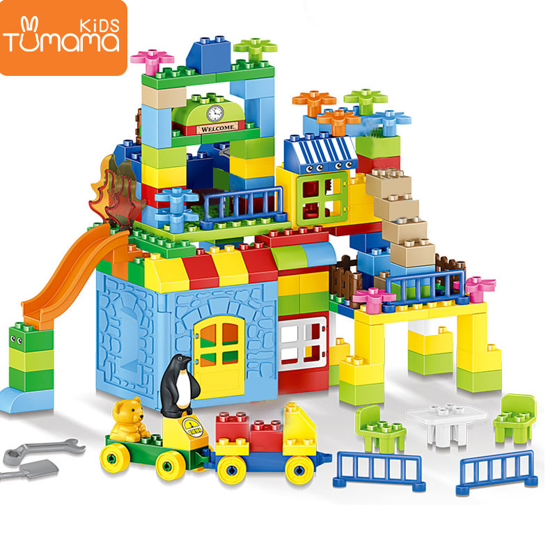 Big Size Building Blocks 160pcs Amusement Park Model Building Toys Large Size Kid Educational Toy Compatible LegoINGlys Duploed