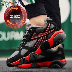 Homens Sapatos de Inverno de Couro Sapatos Casuais Masculino Adulto Preto Mantenha Quente Tênis De Grife Homens Não-deslizamento Sapatos Da Moda calçado