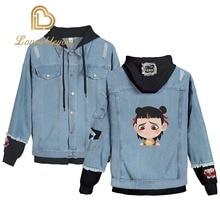 Womens Denim Jacket Cartoon Nezha Streetwear Tops Spring Jacke Anime Harajuku Hip Hop Clothing Coat