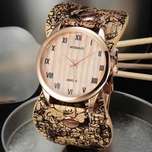 Casual Ladies Watches Womage Fashion Women Dress Printed Leather Band Quartz Wristwatch Big dames horloges