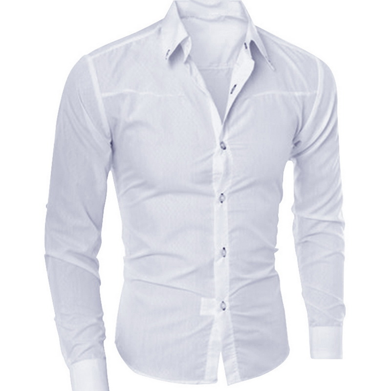 DIHOPE 2020 New Fashion Cotton Long Sleeve Shirt Solid Slim Fit Male Social Casual Business White Black Dress Shirt