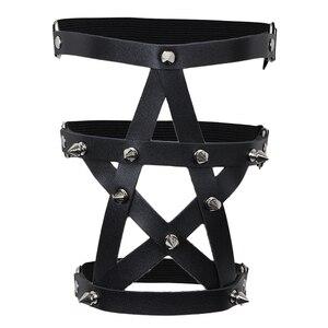 Регулируемые 3 ряда кожаные Подвязки для ног ремень панк готика заклепки шпилька бедра кольцо подвязка Звезда Форма пентаграммы